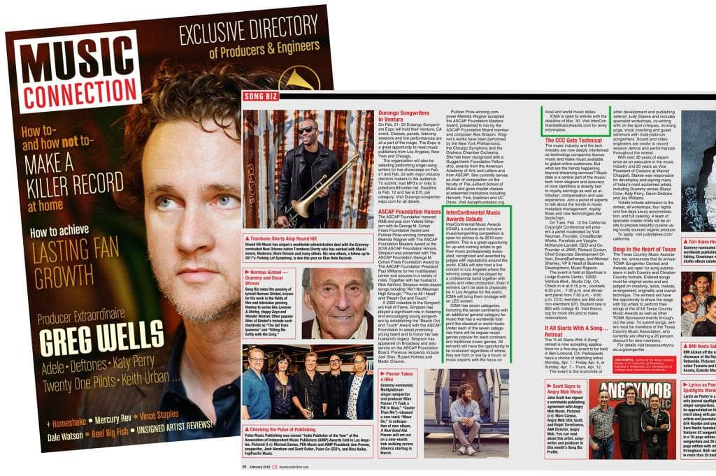 InterContinental Music Awards - announcement in music connection magazine